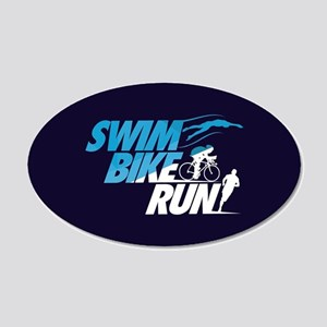 Swim Bike Run 20x12 Oval Wall Decal