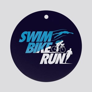 Swim Bike Run Round Ornament