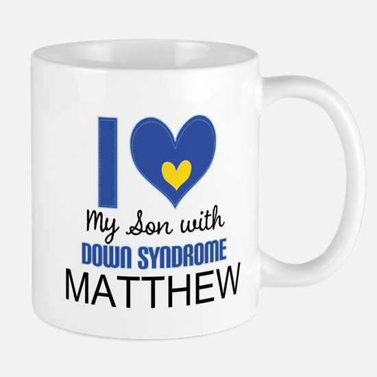 I Heart My Son With Down Syndrome Mugs