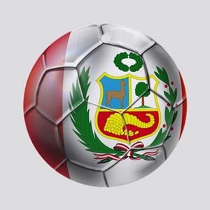 Peru Soccer Ball Round Ornament
