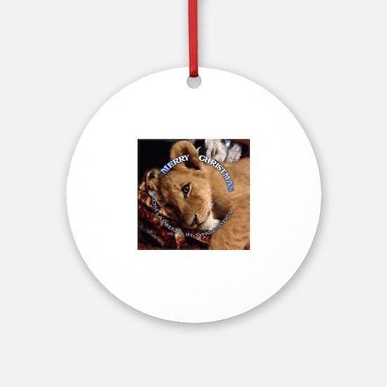 Funny Lion cub Round Ornament