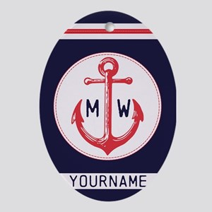 Nautical Anchor Monogrammed Oval Ornament