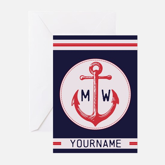 Nautical Anchor Monogrammed Greeting Cards