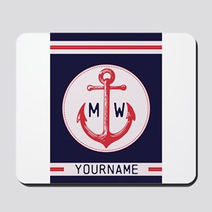 Nautical Anchor Monogrammed Mousepad