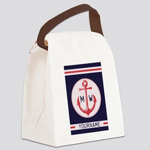 Nautical Anchor Monogrammed Canvas Lunch Bag