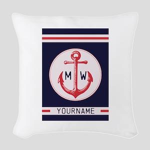 Nautical Anchor Monogrammed Woven Throw Pillow
