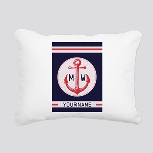 Nautical Anchor Monogrammed Rectangular Canvas Pil