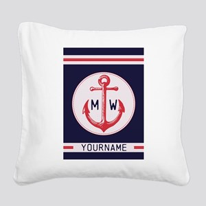 Nautical Anchor Monogrammed Square Canvas Pillow