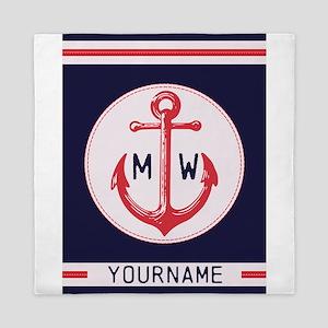 Nautical Anchor Monogrammed Queen Duvet