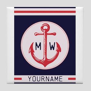 Nautical Anchor Monogrammed Tile Coaster