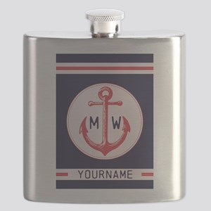 Nautical Anchor Monogrammed Flask