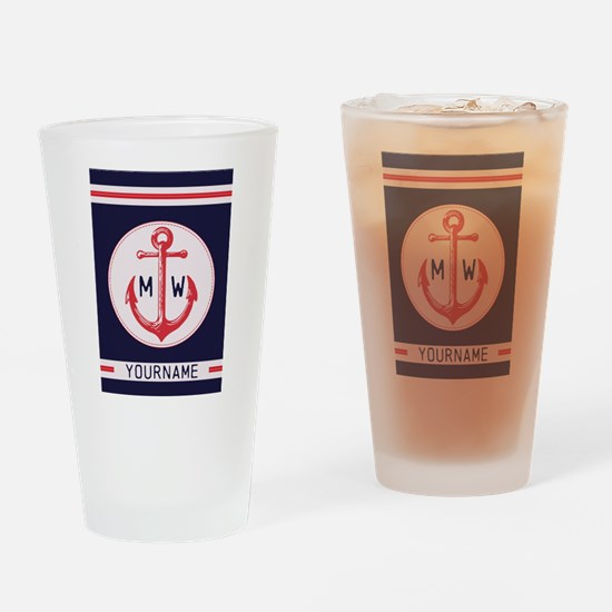 Nautical Anchor Monogrammed Drinking Glass
