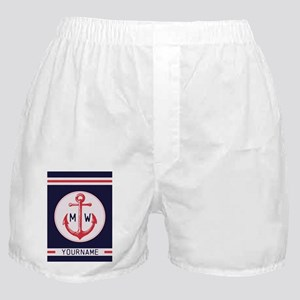 Nautical Anchor Monogrammed Boxer Shorts