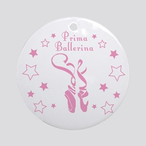 Prima Ballerina Toe Shoes - Pink Round Ornament