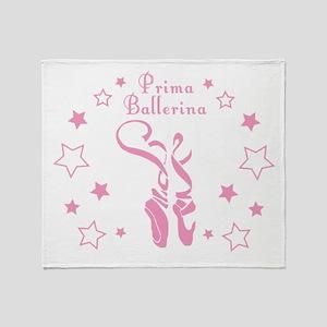 Prima Ballerina Toe Shoes - Pink Throw Blanket