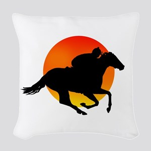Horse Racing Woven Throw Pillow