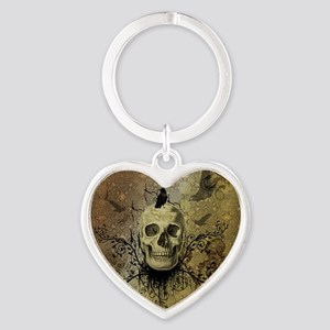 Skull and crow with floral elements Keychains