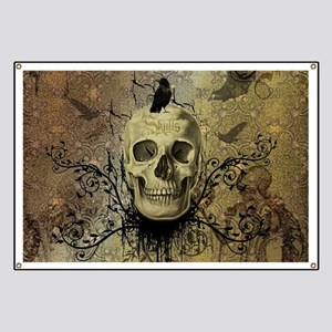 Skull and crow with floral elements Banner