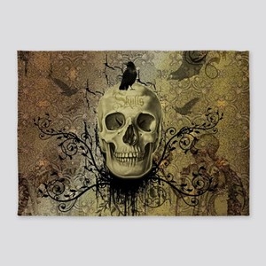 Skull and crow with floral elements 5'x7'Area Rug