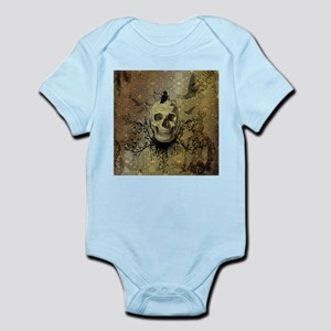 Skull and crow with floral elements Body Suit