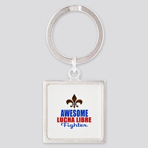 Awesome Lucha Libre Fighter Square Keychain
