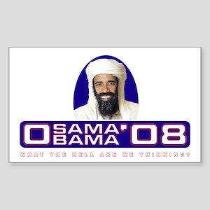 Osama/Obama '08 What the hell Sticker (Rectangular