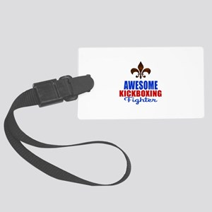 Awesome Kickboxing Fighter Large Luggage Tag