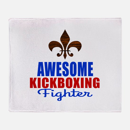 Awesome Kickboxing Fighter Throw Blanket