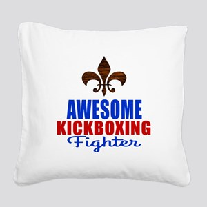 Awesome Kickboxing Fighter Square Canvas Pillow