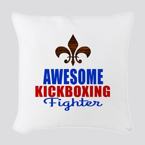 Awesome Kickboxing Fighter Woven Throw Pillow