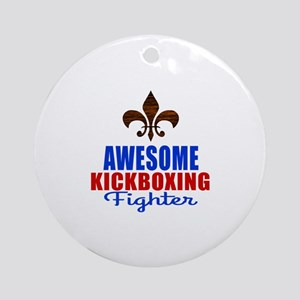 Awesome Kickboxing Fighter Round Ornament