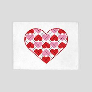 Argyle Heart 5'x7'Area Rug