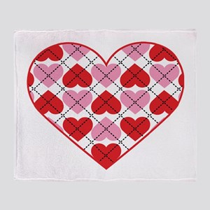 Argyle Heart Throw Blanket