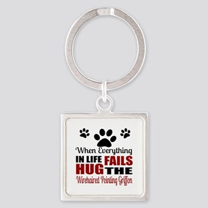 Hug The Wirehaired Pointing Griffo Square Keychain
