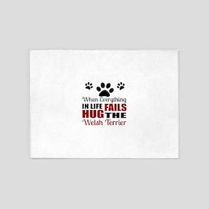 Hug The Welsh Terrier 5'x7'Area Rug