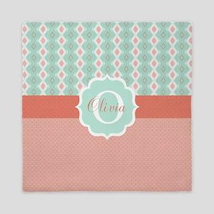 Peach And Mint Monogram Queen Duvet