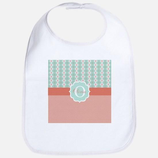 Peach Mint Monogram Baby Bib