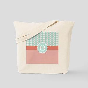 Peach Mint Monogram Tote Bag