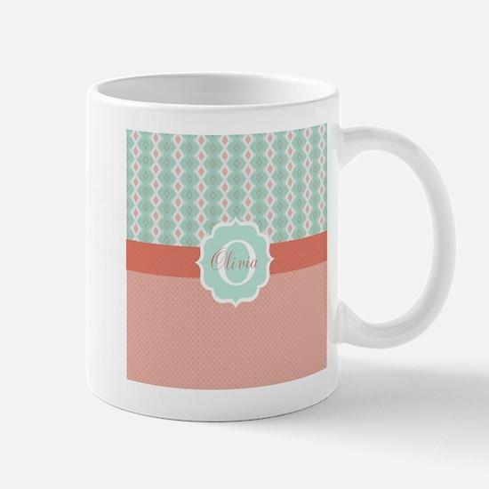 Peach Mint Monogram Mugs