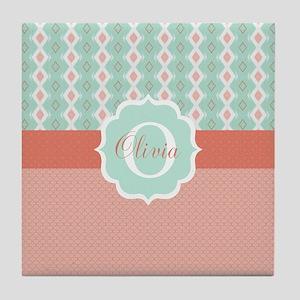 Peach Mint Monogram Tile Coaster