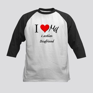 I Love My Laotian Boyfriend Kids Baseball Jersey