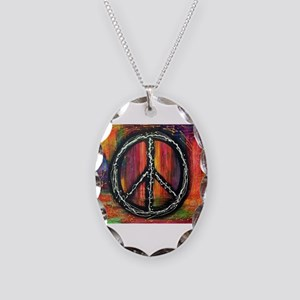Rustic peace Necklace Oval Charm