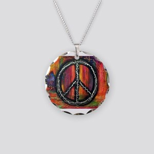Rustic peace Necklace Circle Charm