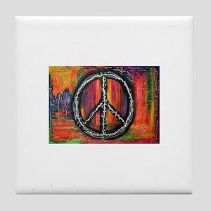 Rustic peace Tile Coaster