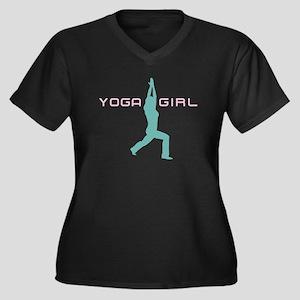 YOGA GIRL Women's Plus Size V-Neck Dark T-Shirt