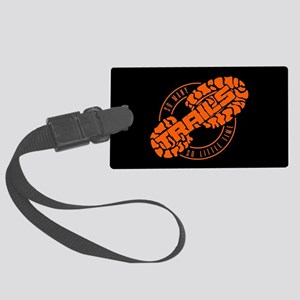 So Many Trails Angled Orange Large Luggage Tag