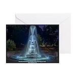 Night Fountain Greeting Cards