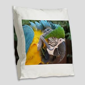parrot Burlap Throw Pillow