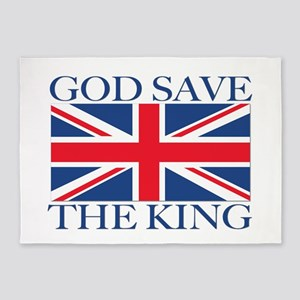 God Save the King, With Union Jack 5'x7'Area Rug