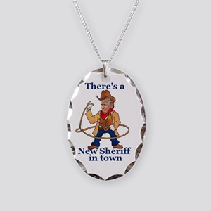 Trump New Sheriff 2017 Necklace Oval Charm